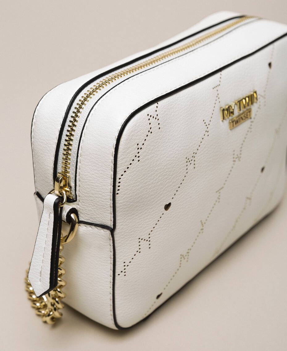"""Openwork faux leather shoulder bag """"Ice"""" White Woman 201MO8013-03"""