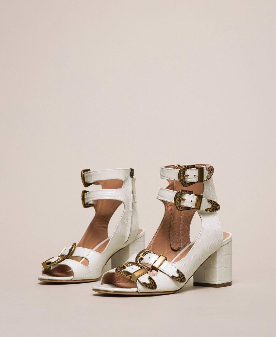 Sandalette aus Leder mit Krokoprägung Print Kroko Schneeweiß Frau 201TCP05E-02