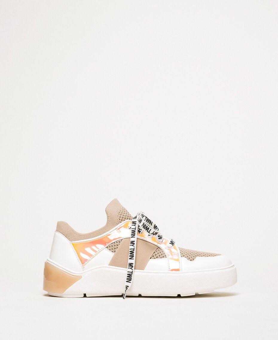 "Mesh trainers with faux leather detail Multicolour ""Quartz"" Pink / Vanilla / ""Iris"" Green Woman 201MCP130-03"