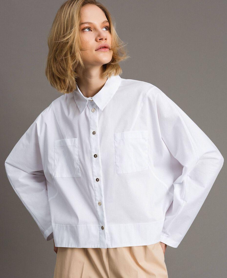 Camicia in popeline con tasche Bianco Donna 191LL23LL-02