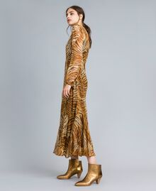 Long printed silk dress Tiger Print Woman TA8254-01