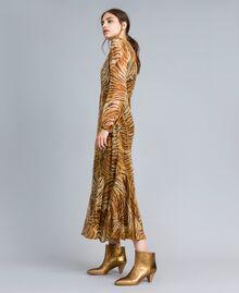 Vestido largo de seda estampada Estampado Tigre Mujer TA8254-01