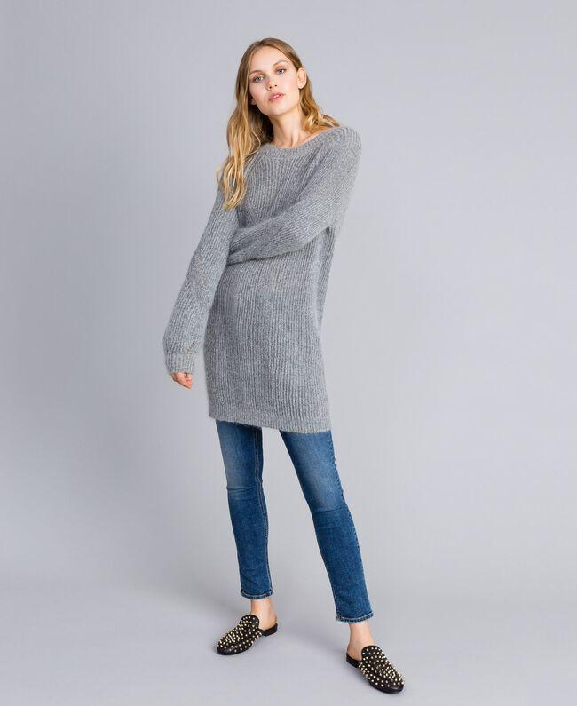 fb82599550fe3a Maxi lurex and mohair jumper Grey Silver Lurex Melange Woman TA832E-02