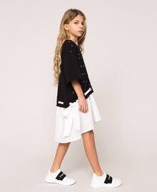 "Plush dress with polka dots and poplin Two-tone Polka Dot Print / ""Papers"" White Child 201GJ2320-02"
