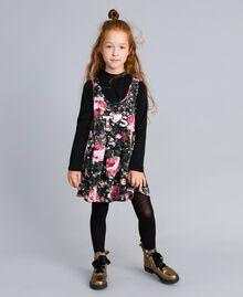 """Kleid aus bedrucktem Pikee mit T-Shirt Print """"Rosen"""" / Schwarz Kind GA82LC-02"""