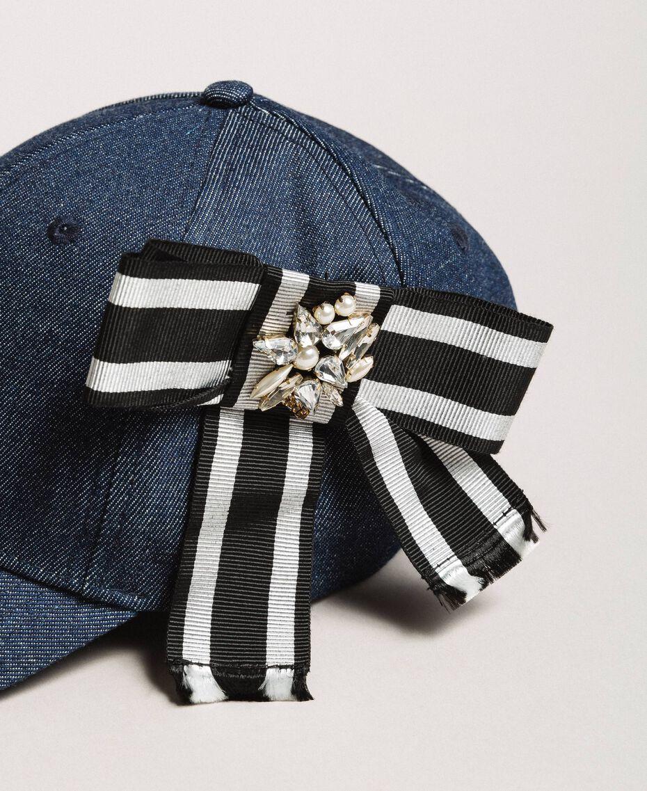 Denim hat with cockade Dark Denim Woman 191MA4320-02