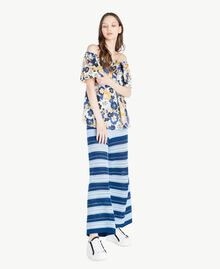Pantacourt Multicolore Bleu Marine «Pivoine» / Bleu Placide / Beige «Corde» Femme SS83AF-05