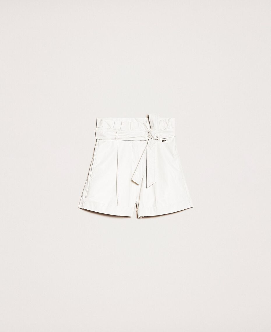 "Faux leather shorts with belt ""Silk"" White Woman 201ST2115-0S"