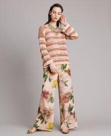 """Pullover mit Durchbruch-Streifenmuster Zweifarbig """"Rose Sand"""" Pink / """"Desert Rose"""" Beige Frau 191MT3130-0T"""