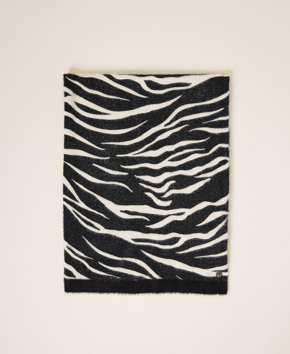 Écharpe avec imprimé animalier Imprimé Zébré Noir / Blanc Crème Femme 202MA4333-01