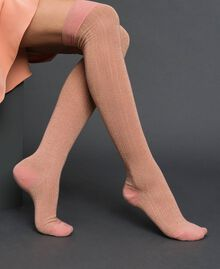 Ribbed lurex above the knee stockings Mousse Pink Woman 192TA432D-0S
