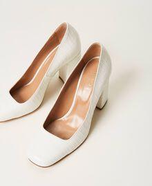 "Leather court shoes with crocodile print ""Snow"" White Crocodile Print Woman 202TCP076-01"