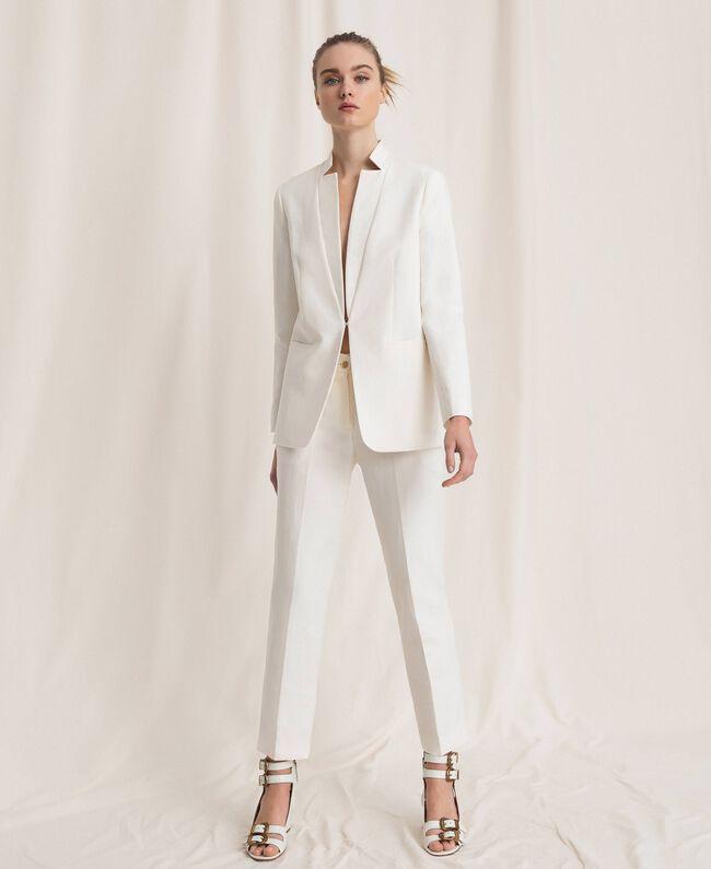 Blazer en lin mélangé Blanc Neige Femme 201TP2252-01