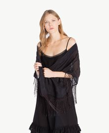 Embroidered shawl Black Woman TS82E1-02