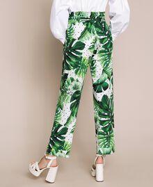 Брюки с высокой талией из набивного поплина Принт Тропический Горошек Зеленый женщина 201TP2553-03
