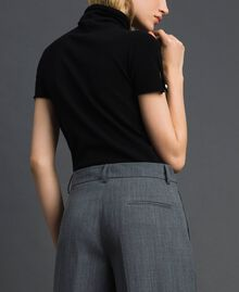 Short sleeve turtleneck with pearl buttons Black Woman 192TP3242-03