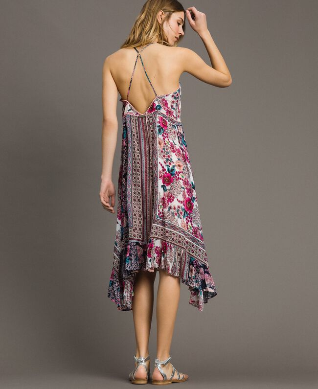 "Chiffon dress with shawl print ""Psychedelic Pink"" Fuchsia Scarf Print Woman 191LB2HEE-03"