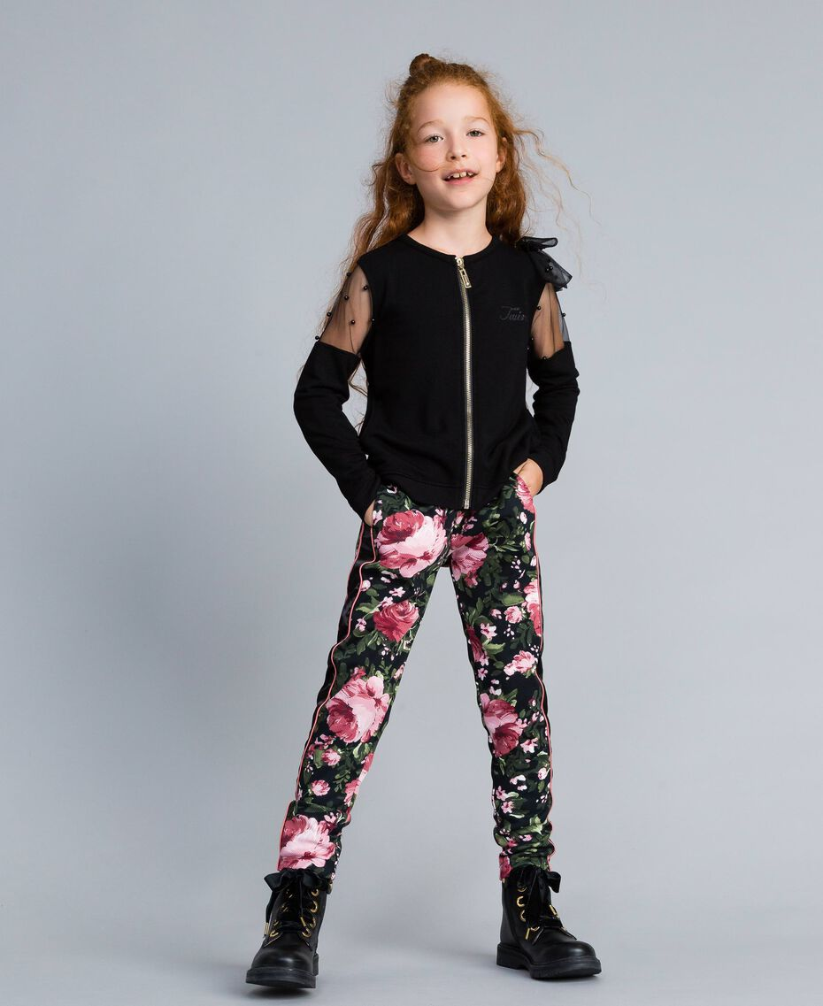 Viscose sweatshirt with embroidered tulle Black Child GA82LN-02