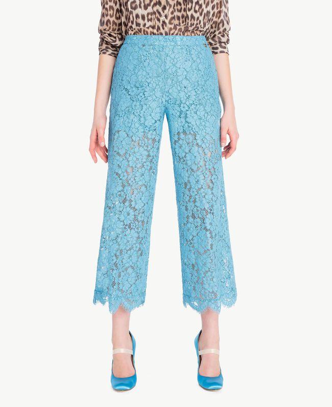 Hose aus Spitze in Croppedlänge Orientblau Frau PS82XC-01