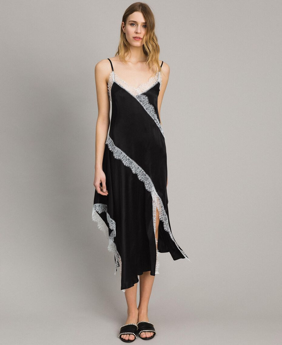 "Silk blend long dress with lace Bicolour Black / ""Snow"" White Woman 191TT2091-01"