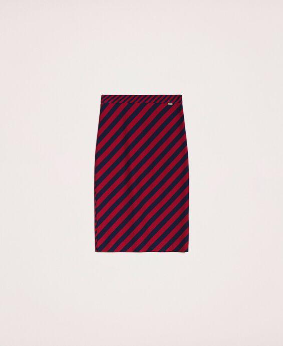 Midi skirt with slanted stripes