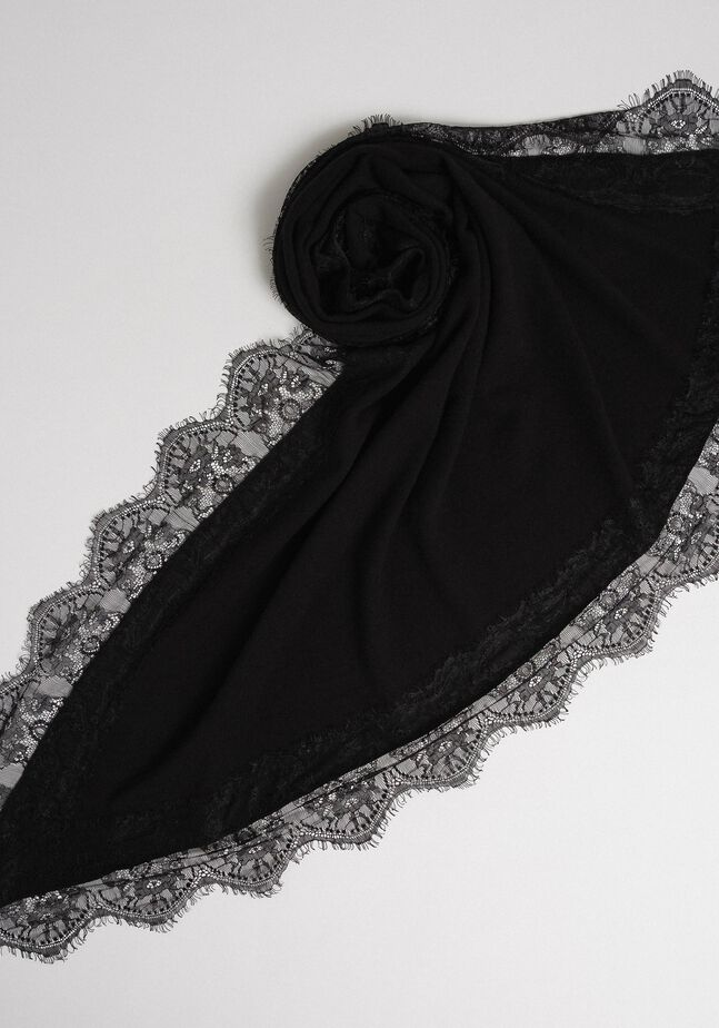 Wool blend and cashmere kefiah with lace