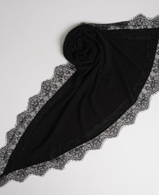 Tuch aus Wolle-Kaschmir-Mix mit Spitze Schwarz Frau 192TA4407-01
