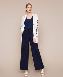 Pin stripe palazzo trousers Midnight Blue Pin Stripe Jacquard Woman 201ST2083-0T