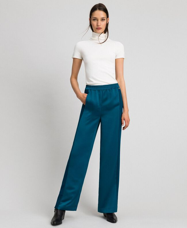 "Palazzo trousers with contrasting bands ""Lake"" Blue Woman 192MP2352-01"