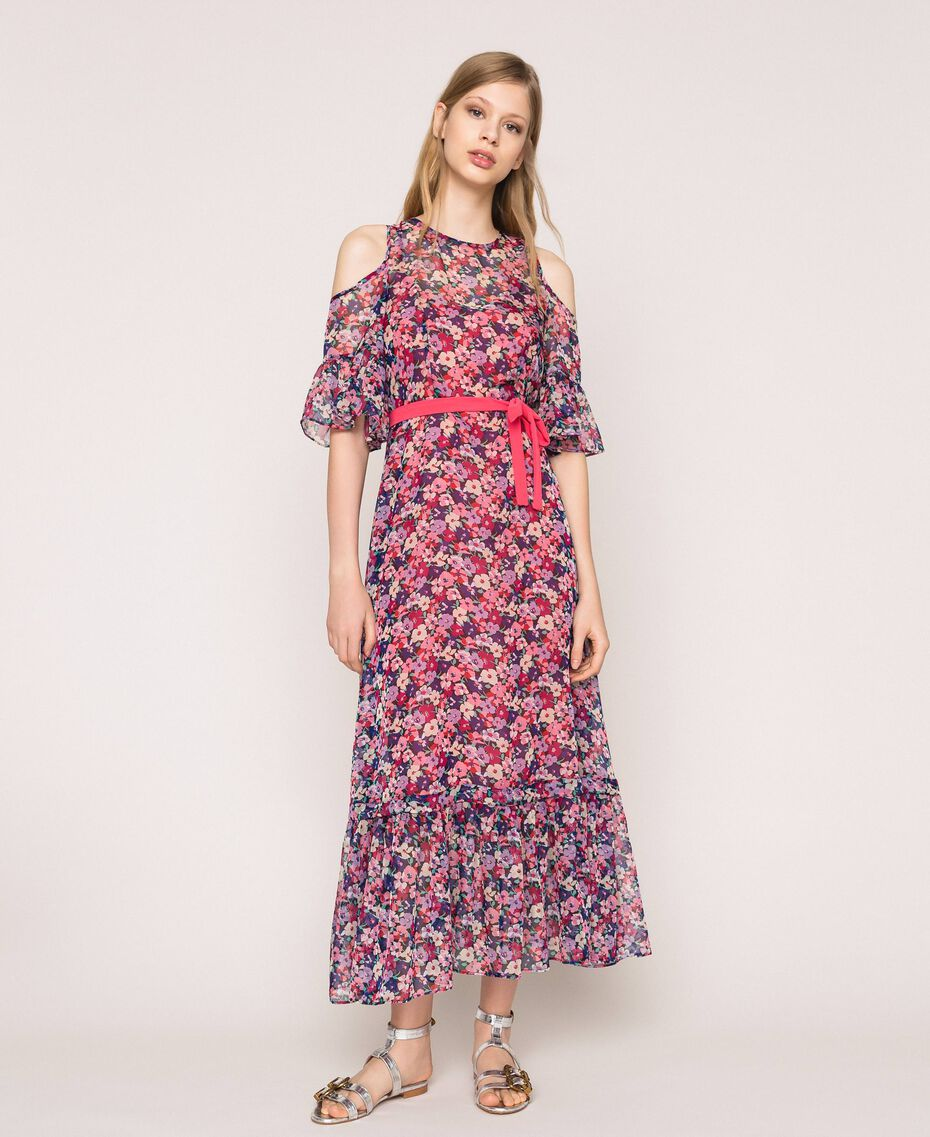 Floral chiffon full-length gown Violet Print Woman 201TP2544-01