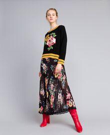 Pull en laine mélangée Noir Femme PA83HR-0T