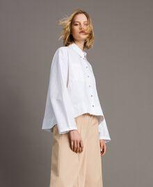 Camicia in popeline con tasche Bianco Donna 191LL23LL-05