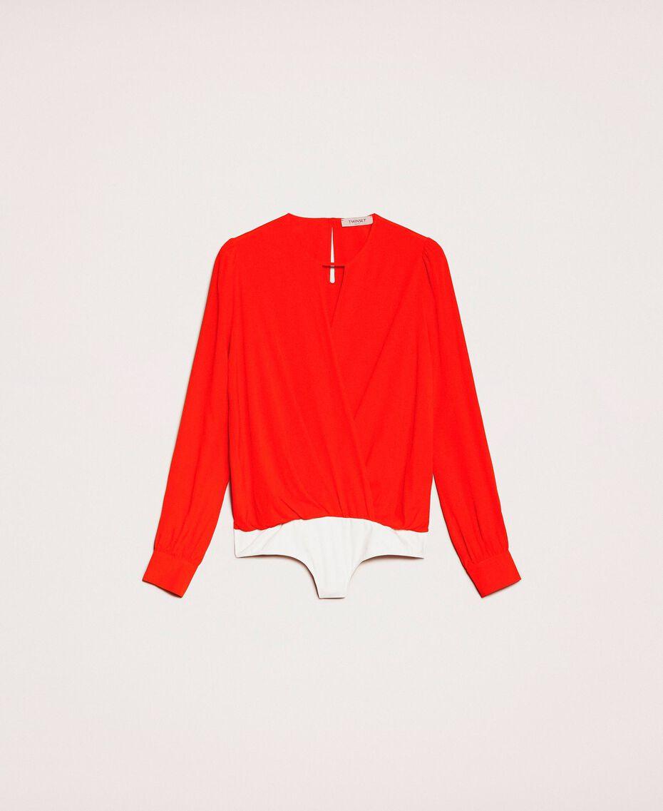 Silk blend blouse bodysuit White Snow Woman 201TP2504-0S