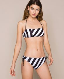Striped bikini bottom with drawstring and laces Two-tone Black / Optical White Woman 201LMMF99-01