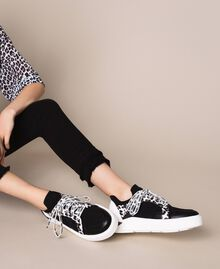 Mesh trainers with animal print detail Two-tone Black / Animal Print Woman 201MCP132-0S