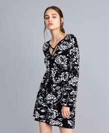 Jacquard knitted floral print dress Black Flower Jacquard Woman SA83EC-01