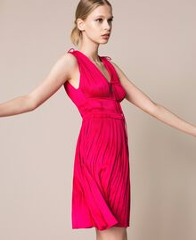 Pleated satin dress Wild Rose Woman 201MT2141-02