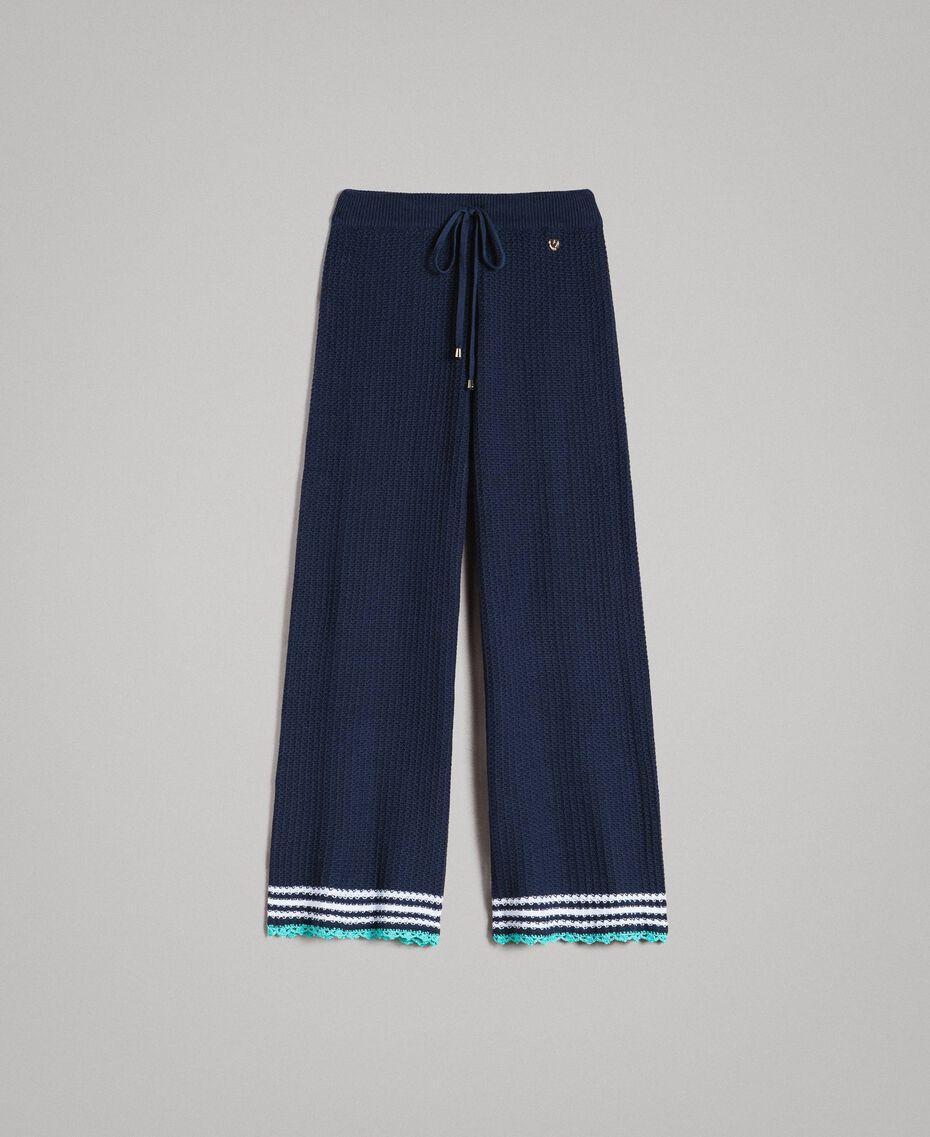 Pantalon palazzo en maille Multicolore Bleu Nuit / Blanc Cassé / Bleu Piscine Femme 191MT3081-0S