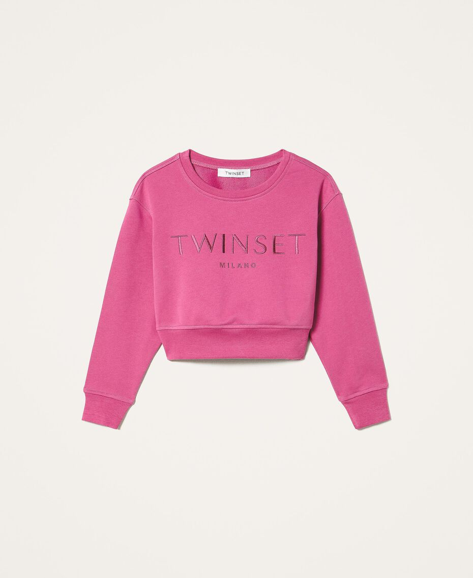 Sweatshirt with logo embroidery Dark Fuchsia Child 202GJ283A-0S
