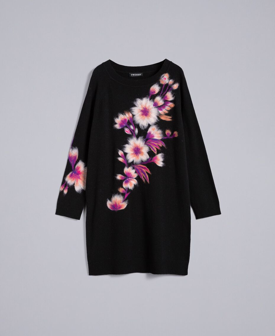 Embroidered wool blend dress Black Needle Punched Embroidery Woman TA83JA-0S