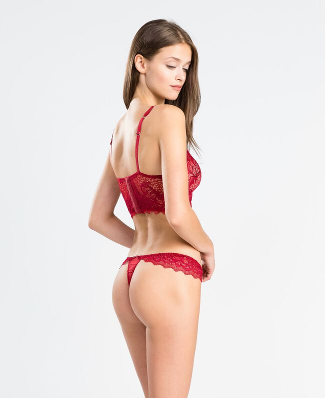 """Tulle plumetis and lace thong """"Reddish"""" Red Woman LA8A88-03"""