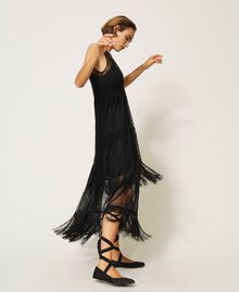 Tulle long dress with lace and fringes Black Woman 202TP2372-02