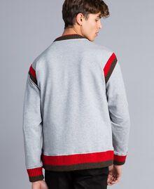 """Sudadera de algodón con estampado y bordado Multicolor Gris Mezcla / Rojo """"Amapola"""" / Verde Alpino Hombre UA82DC-03"""
