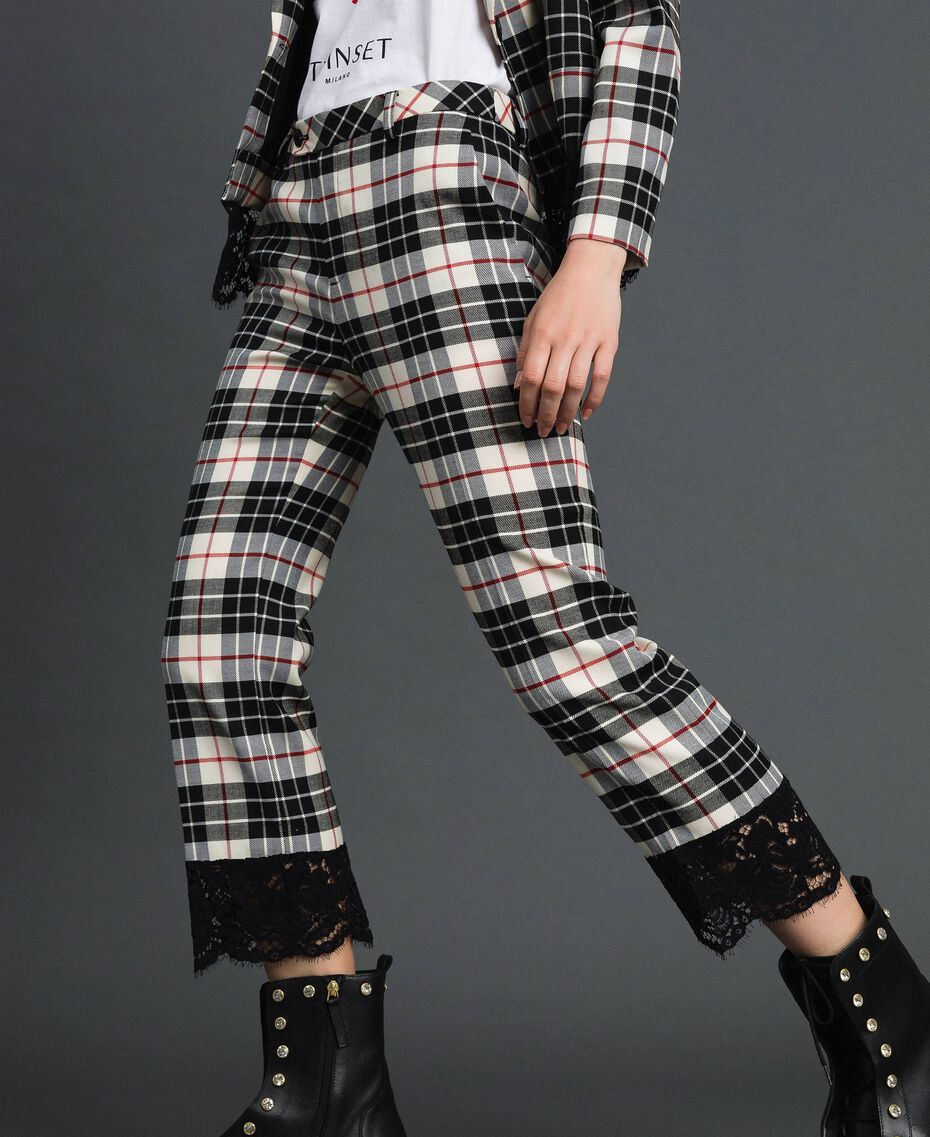 "Flared trousers in chequered wool ""Snow"" White Tartan Jacquard Woman 192TP2622-02"