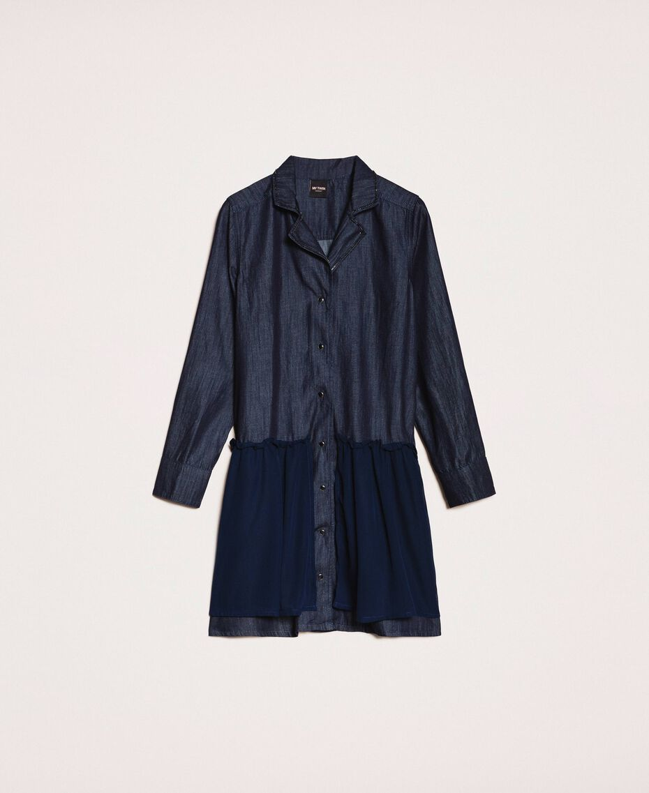 Denim shirt dress with rhinestones Denim Blue Woman 201MP2400-0S
