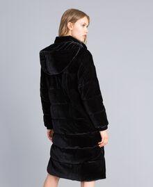 Doudoune longue en velours Noir Femme TA82BB-03