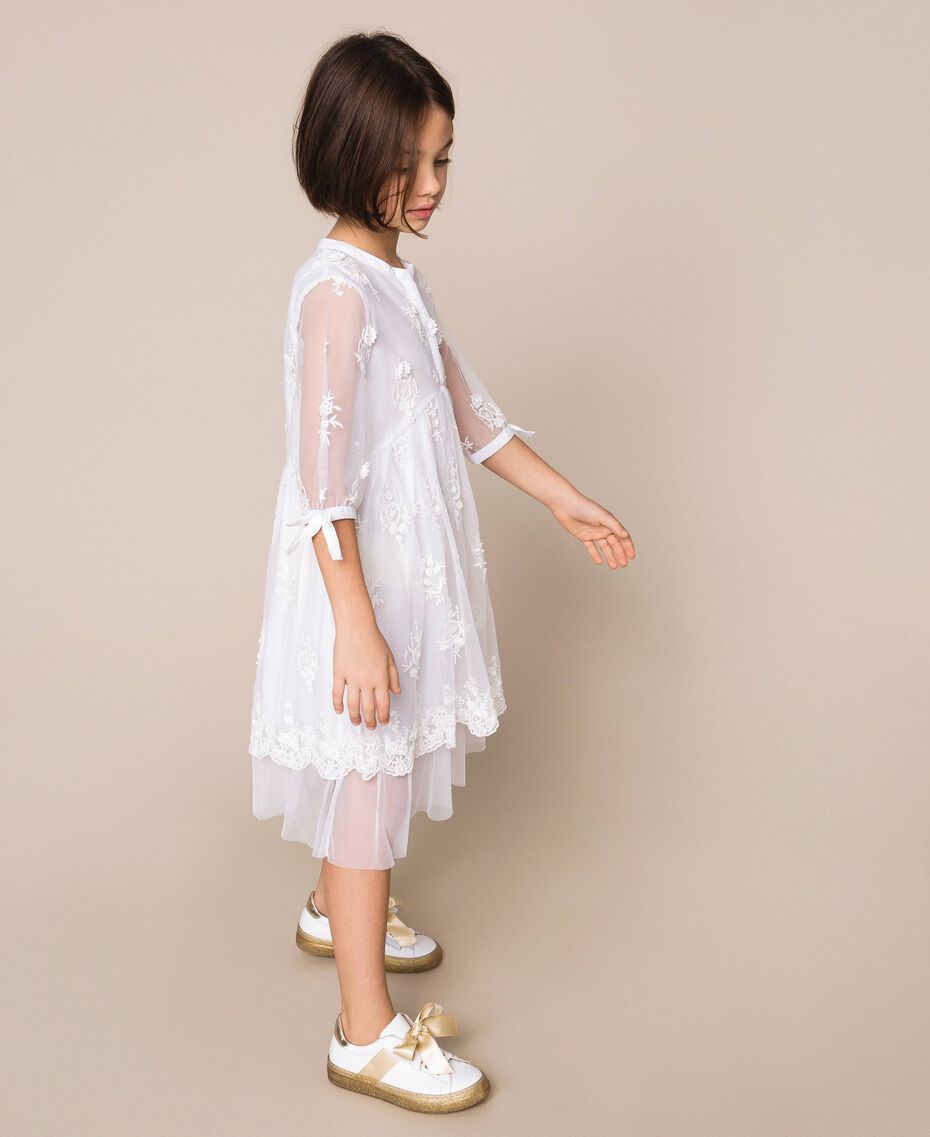 Embroidered tulle dress Off White Child 201GJ2Q60-02