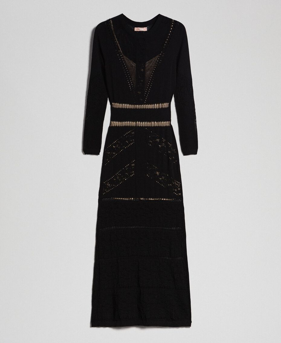 Long openwork dress Black Woman 192TT3210-0S