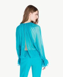 Silk blouse Turquoise Woman PS8221-03
