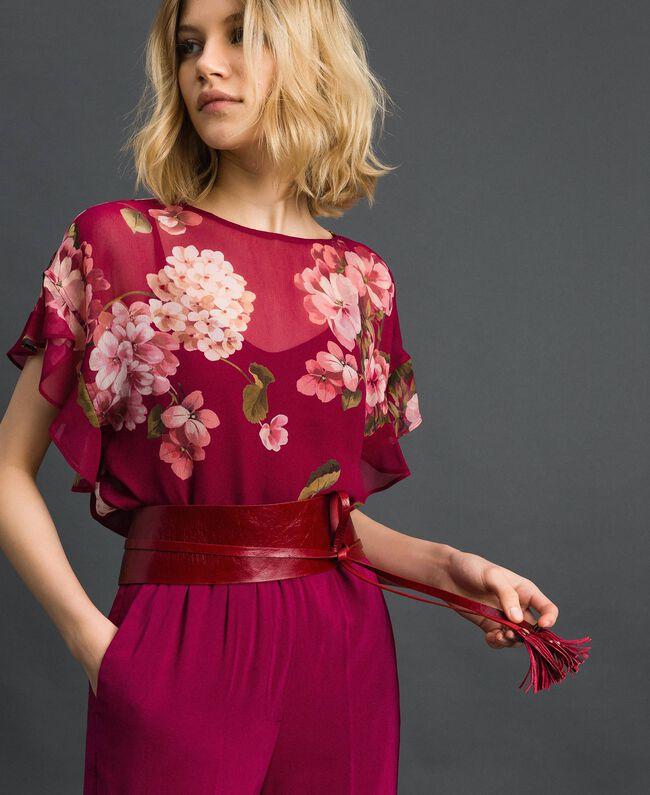 Floral print creponne blouse Beet Red Geranium Print Woman 192TP2720-01
